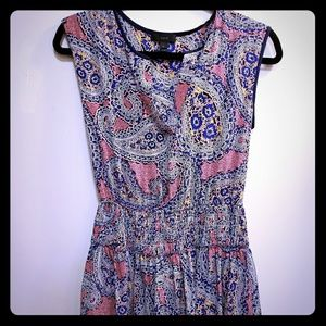J. Crew paisley split-neck dress size 0